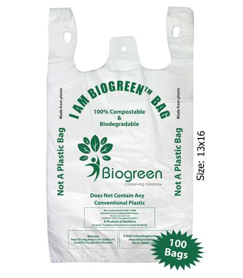 Biodegradable Compostable Grocery Bag 13x16 inches